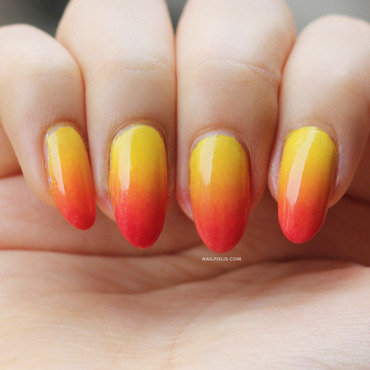 Tequila Sunrise nail art by Michelle
