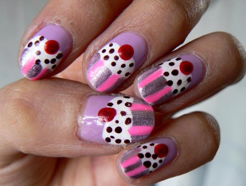 Cupcake Nails nail art by Aysha Baig