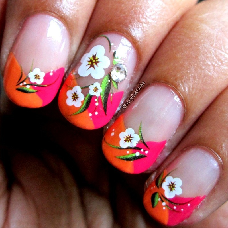 Bright French nail art by Stacey  Castanha