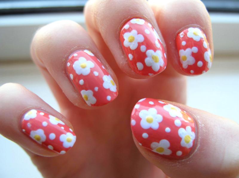 Coral Daisy Nails nail art by Madie
