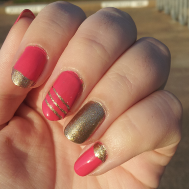Pink and Gold nail art by Stephanie Stark