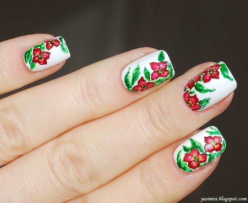 Aquarelle flowers nail art by Yasinisi