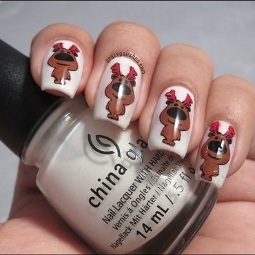 Reindeer nail art by CrazyPolishes (Dimpal)