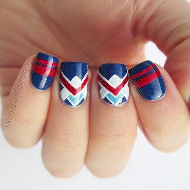 Retro navy nail art nail art by Restons polish
