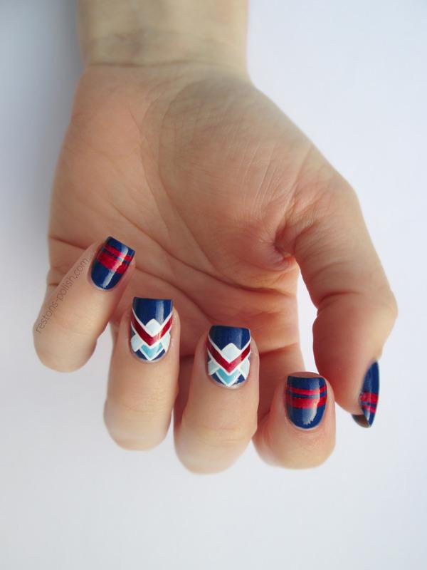 Nail art navy nail art by Restons polish