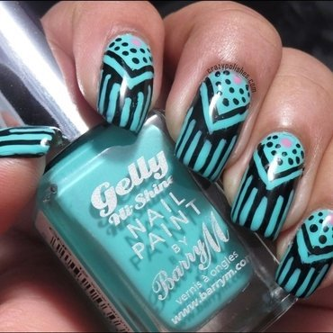 Freehand chevron and strips nail art thumb370f
