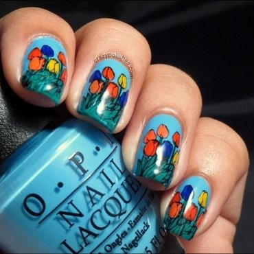 Tulips nail art by CrazyPolishes (Dimpal)