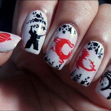 Chinese Dragon nail art by CrazyPolishes (Dimpal)