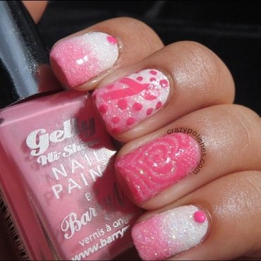 Breast Cancer Awareness Manicure nail art by CrazyPolishes (Dimpal)