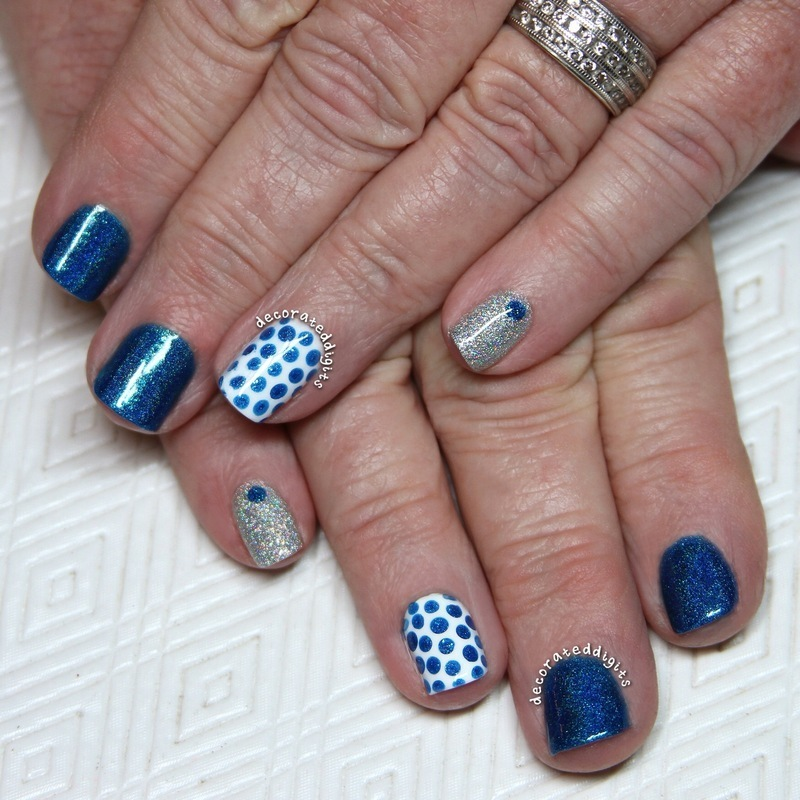 Blue, white and silver skittlette nail art by Jordan