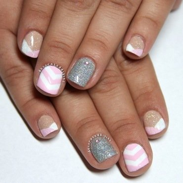 Pink, white and silver skittlette nail art by Jordan