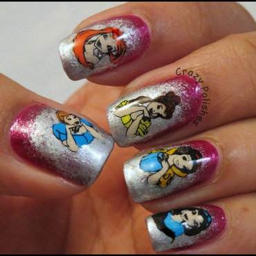 Disney Princesses Manicure nail art by CrazyPolishes (Dimpal)