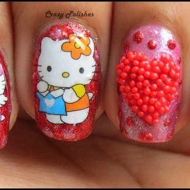 Hello Kitty nail art by CrazyPolishes (Dimpal)