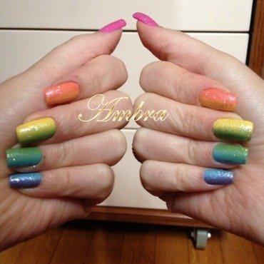 Rainbow Nail Art nail art by AmberNails