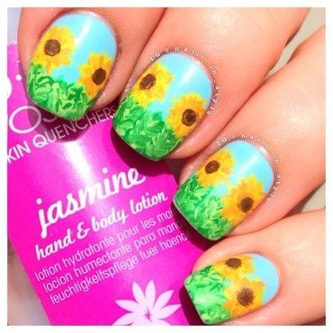 Sun Flowers nail art by Nails_In_Style