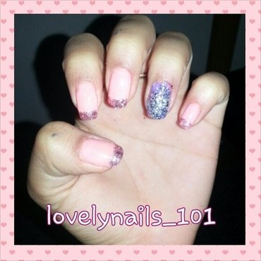 Glitter tips nail art by Magaly