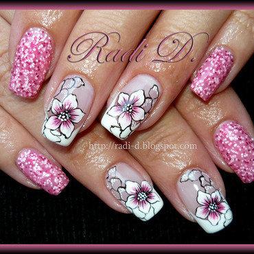 Glitter & Flowers nail art by Radi Dimitrova