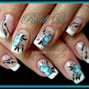 French with flowers nail art by Radi Dimitrova