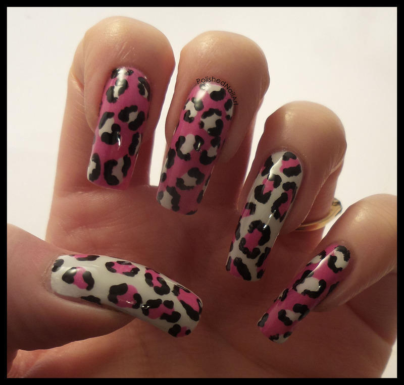Pink hand painted leopard print nail art by Carrie