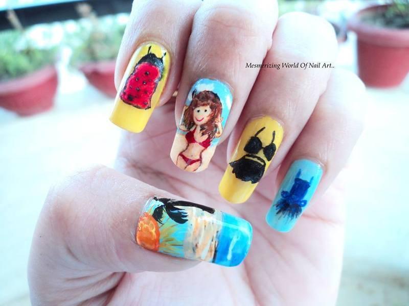 Summer dress nail art nail art by Anubhooti Khanna