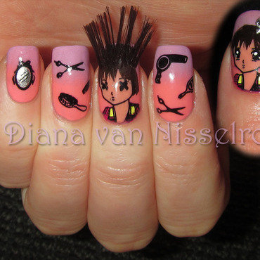 Bad Hair Day nail art by Diana van Nisselroy