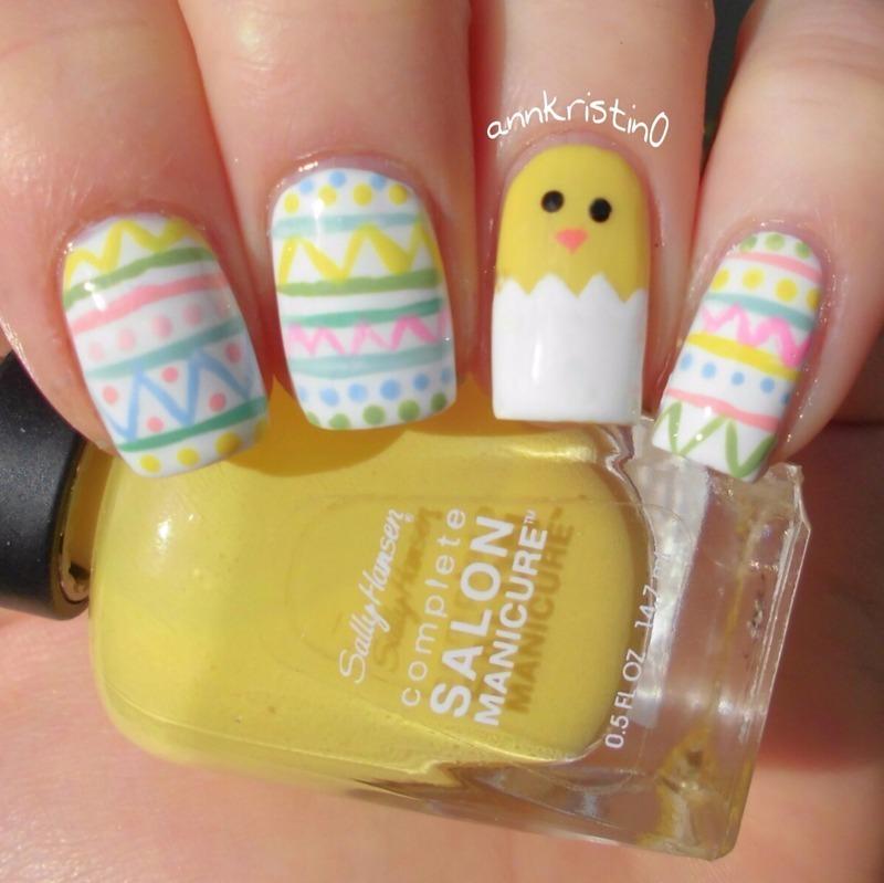 Easter Chick nail art by Ann-Kristin