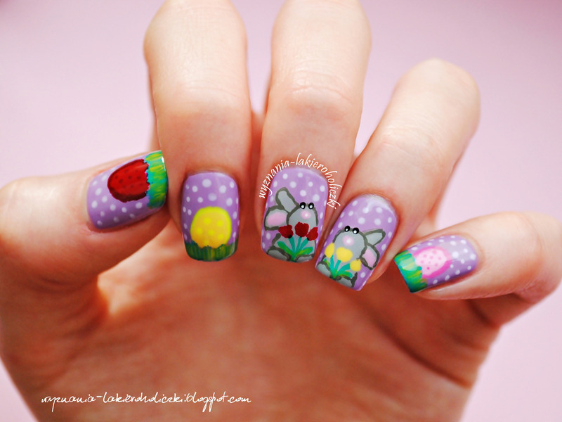 Happy Easter Bunnies nail art by Olaa