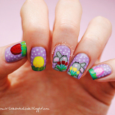 Happy Easter Bunnies nail art by Olaa