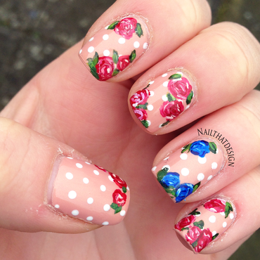 Roses nail art by NailThatDesign
