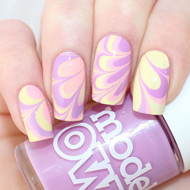Easter Pastel Watermarble nail art by DemelzasWorld