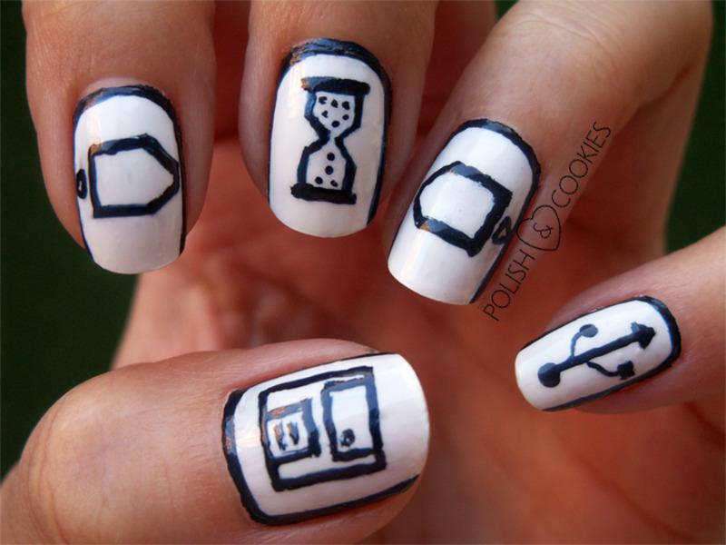 Geeky Nails (left hand) nail art by PolishCookie - Nailpolis: Museum ...
