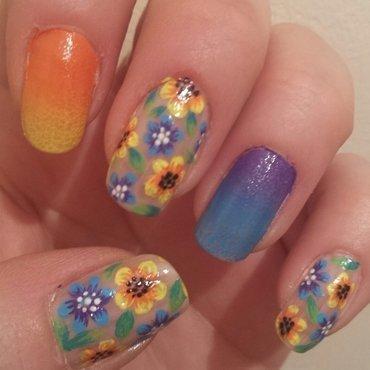 bright floral gradient nail art by Danielle  Hails