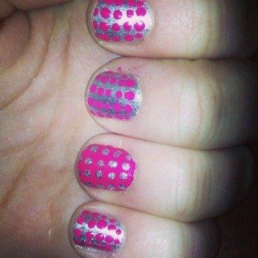 Pink and Metallic dots nail art by Kayla