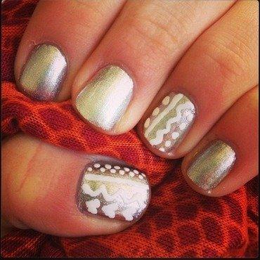 Silver & white tribal nail art by Kayla