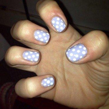 Lavendar Polka Dots nail art by Kayla