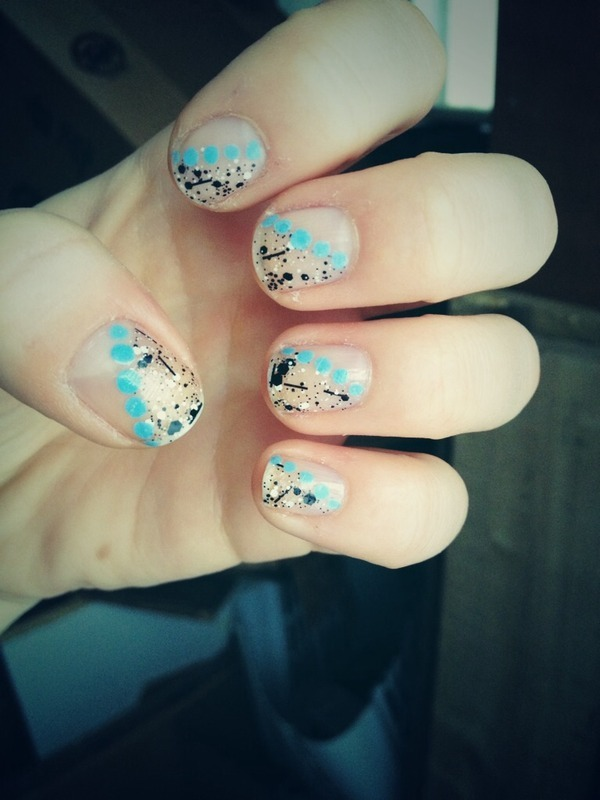 Speckled Half Nail nail art by Kayla
