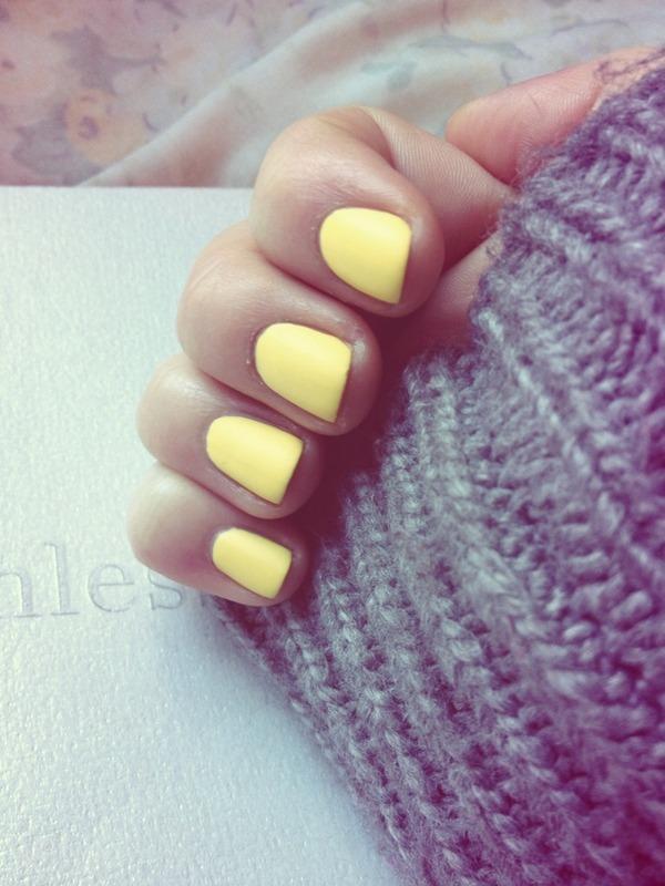 matte yellow nail art by kayla