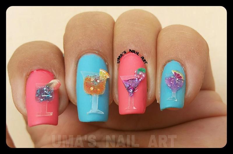 3D Crazy cocktail... nail art by Uma mathur