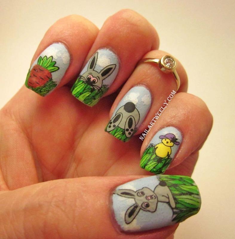 HOPPY Easter nail art by Karolyn