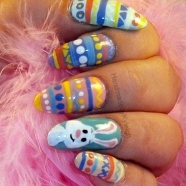 Easter Bunny Eggs nail art by  Kyleigh  'Handmade By Kyleigh'