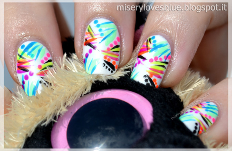 Neon Lights: Graffiti  nail art by MiseryLovesBlue