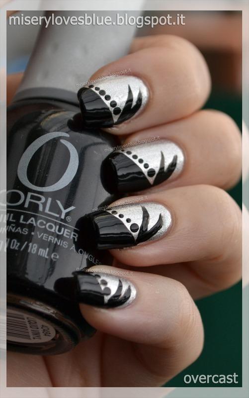 Black & Silver nail art by MiseryLovesBlue