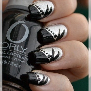 Black & Silver nail art by MiseryLovesBlue