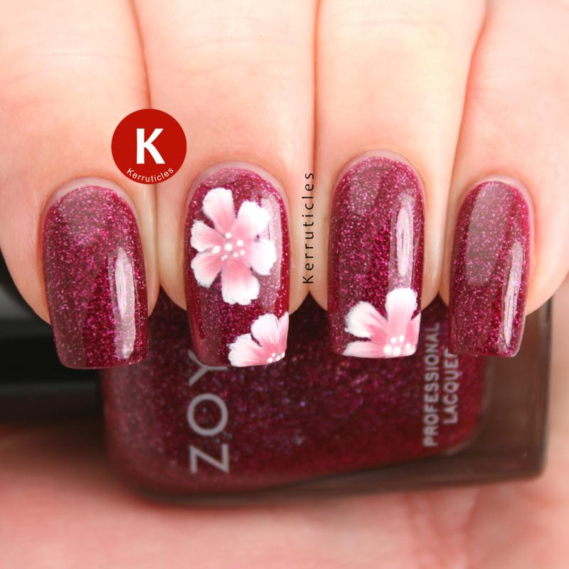 One-stroke Flowers over Zoya Blaze nail art by Claire Kerr