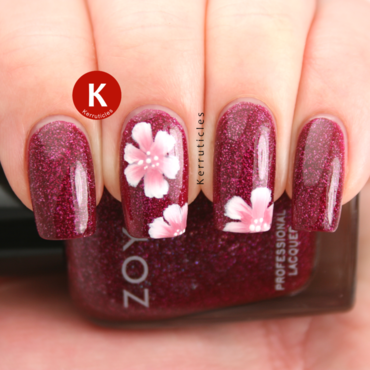 One-stroke Flowers over Zoya Blaze nail art by Claire Kerr