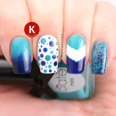 Turquoise and navy skittlette nail art by Claire Kerr