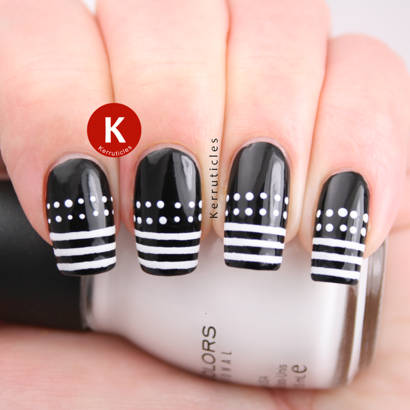 Black and white dots and stripes nail art by Claire Kerr