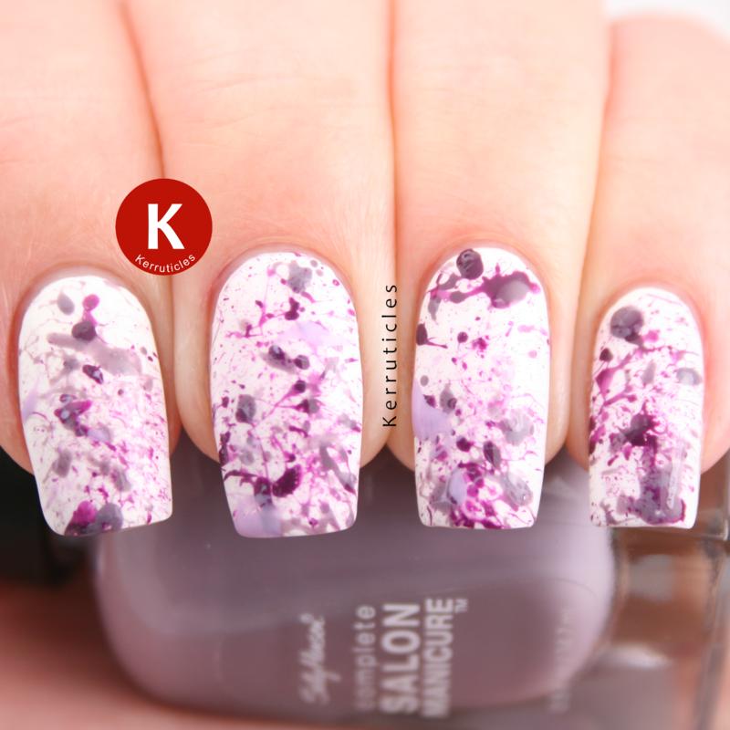 Purple splatter nail art by Claire Kerr