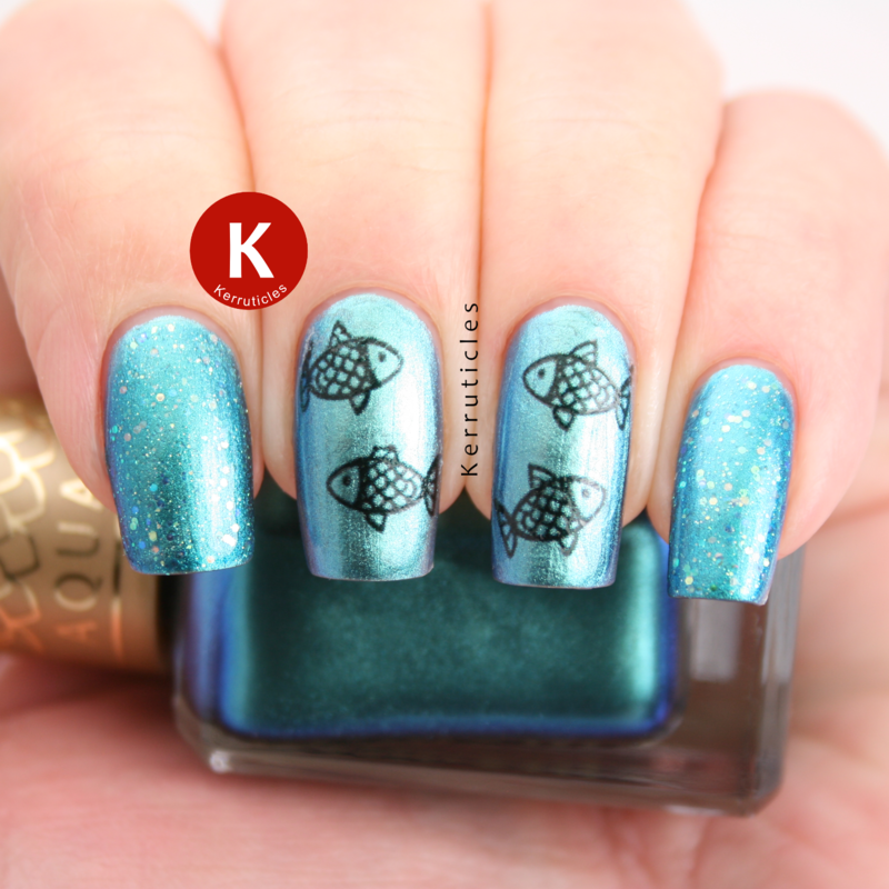 Fish decals nail art by Claire Kerr