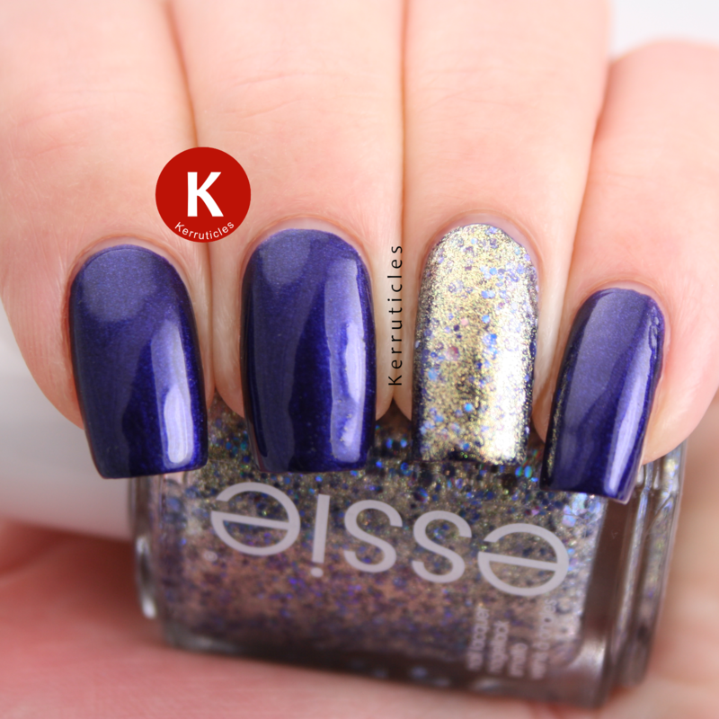 L'Oréal Mystic Blue and Essie On A Silver Platter nail art by Claire Kerr
